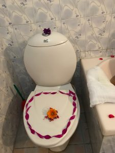 Even the toilet was decorated